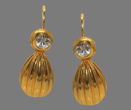 Gold tone earrings with rhinestone