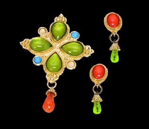 Green Orange Poured Glass Earrings Brooch Set
