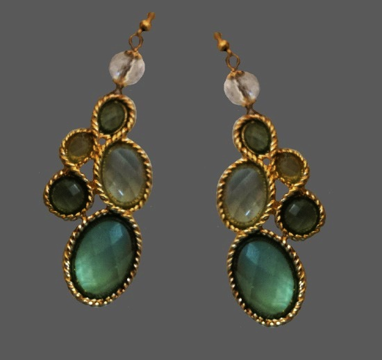 Green and yellow clear drop rhinestone earrings