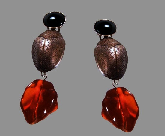 Haute Couture Egyptian Revival Scarab and Lucite Amber Earrings