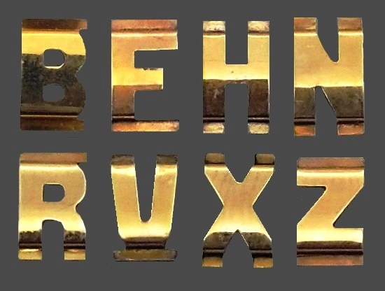 Initial letters, gold filled