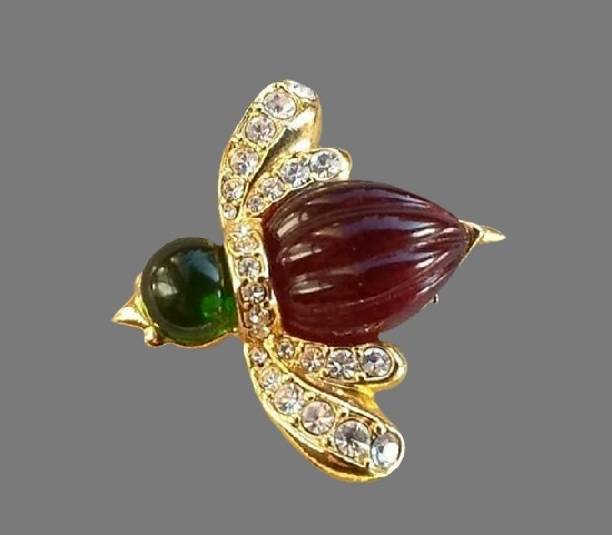 Insect brooch. Gold topne, rhinestones, lucite. 1980s. 3,5 cm