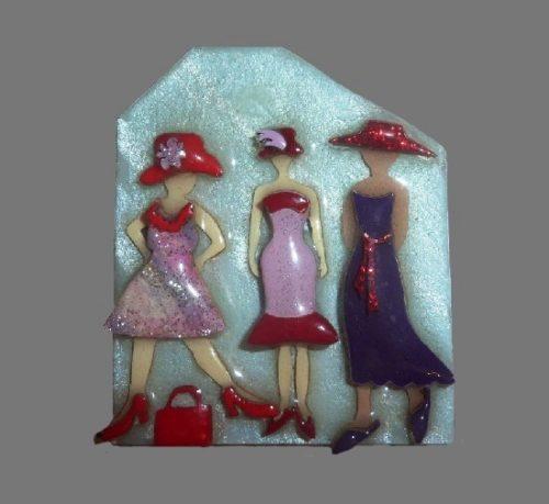 Ladies brooch. Lucite, enamel. 1980s