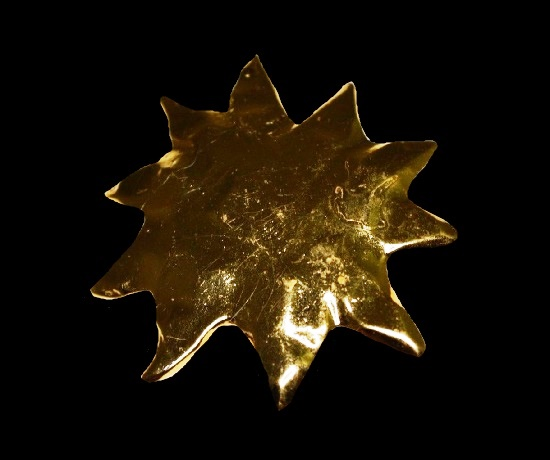 Large Sun Burst Modern Abstract Gold Tone Pin