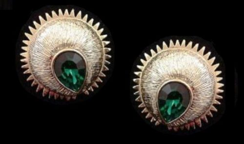Large faux emerald pear shaped stone gold tone earrings