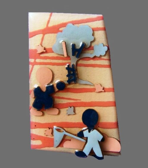 'Little people' series of pins. 6 cm. 1980s