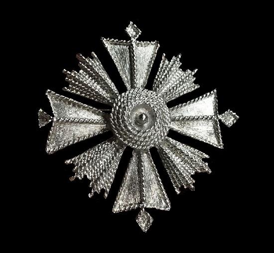 Maltese cross brooch. Silver tone textured metal