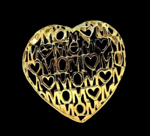 Mom hearts open work gold tone pin brooch