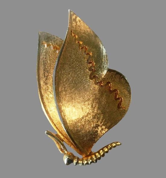 Moth Butterfly gold tone brooch