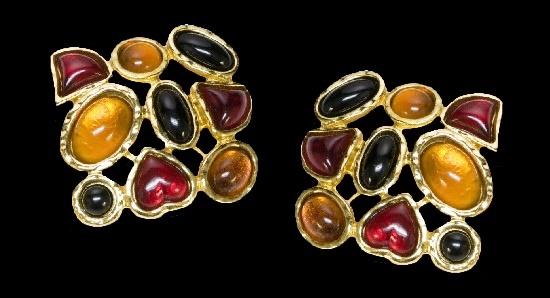 Multi Color Heart Glass Earrings