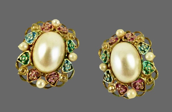 Oval shape floral motif earrings. Gold tone metal, enamel, faux pearl