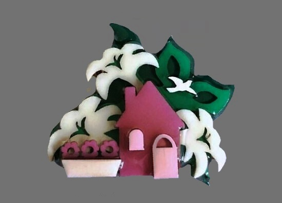 Pink house with lilies Easter pin