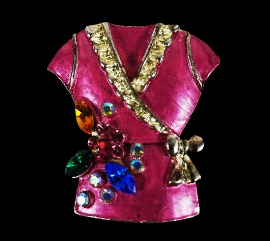 Pink tunic brooch. Jewelry alloy, rhinestones, enamel