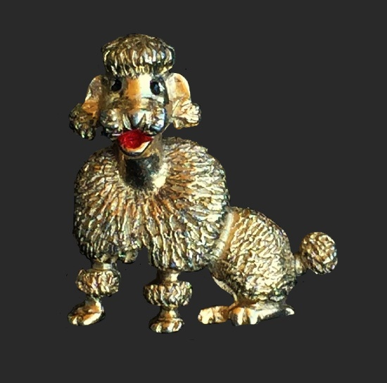 Poodle brooch. Gold tone metal, enamel
