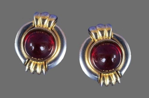 Red Cabochon Silver and Gold Tone Round shaped earrings
