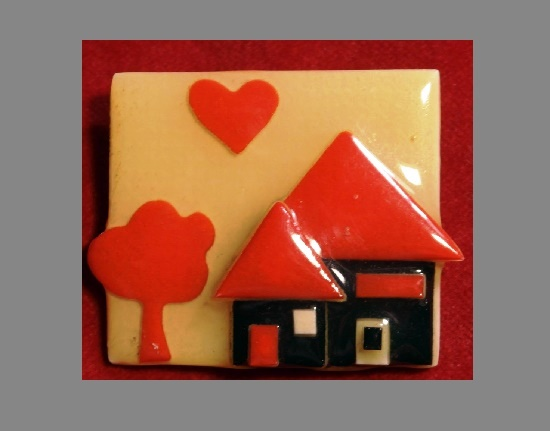 Red and black house pin. Lucite. 5 cm. 1960s.