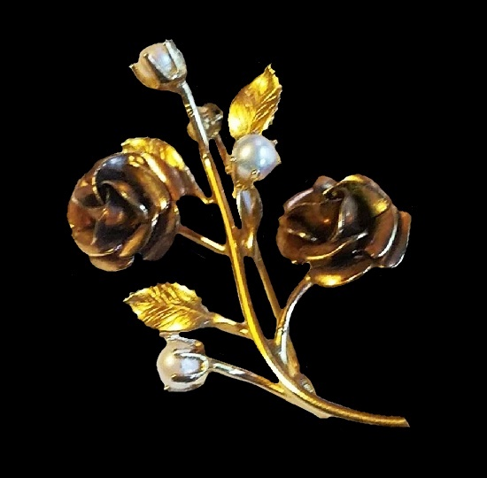 Rose branch brooch pin. 12 K Gold filled, faux pearls, enamel