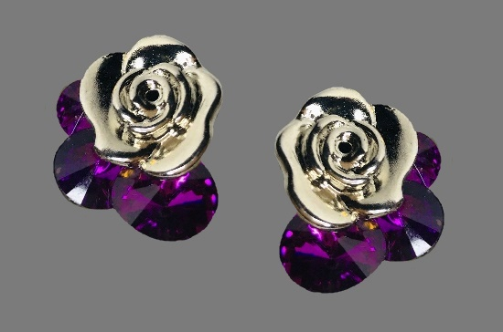 Rose clip on earrings, art glass earrings. 1980s