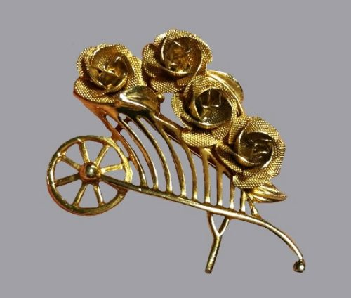 Roses in a push cart. Textured gold-tone metal, art glass
