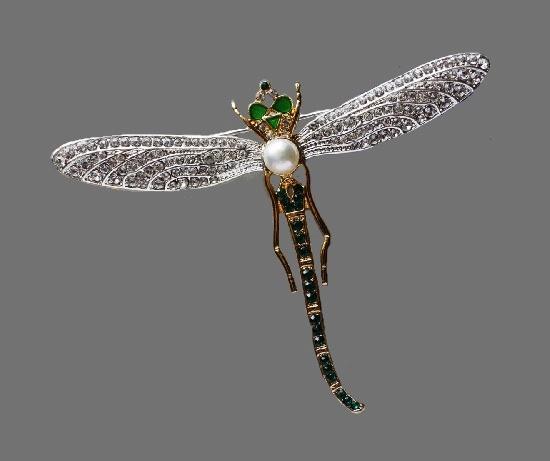 Russian Dragonfly brooch. 22 K gold filled, Swarovsky crystals, pearls, enamel. 7.7 cv. 1990s