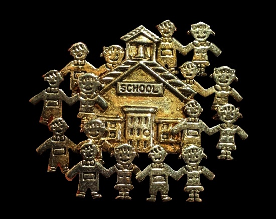 School House and children brooch pendant