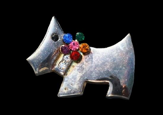 Scotch Terrier brooch. Silver tone metal, multicolor rhinestones