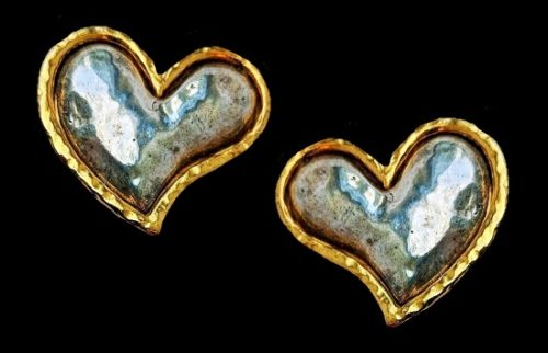 Silver and gold tone heart shaped earrings. 1980s