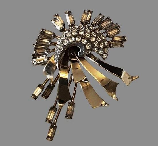 Starburst Comet brooch pendant. 1950s. Rhinestone, 12K Gold filled