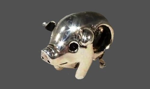 Sterling Silver Plated pig charm
