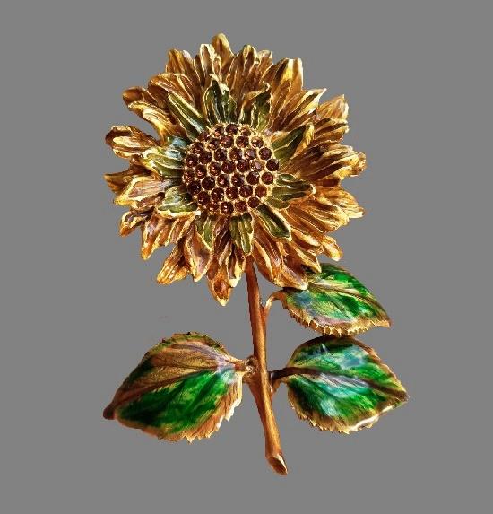 Sunflower brooch. Gold tone alloy, Swarovski crystals, enamel. 8.5 cm, 1990s
