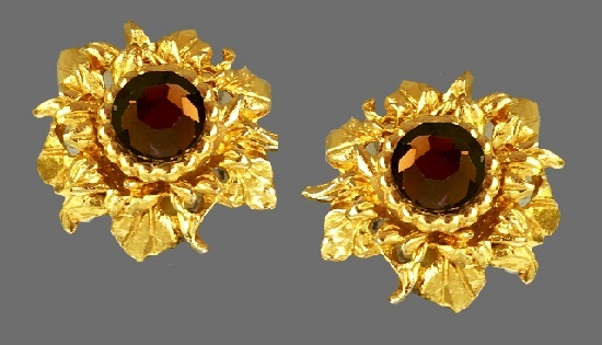 Sunflower earrings. Gold-tone base metal, brown glass rhinestones