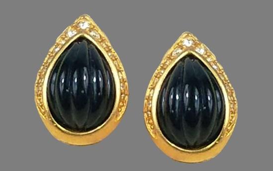 Teadrop earrings. Gold tone metal, Black lucite, crystals
