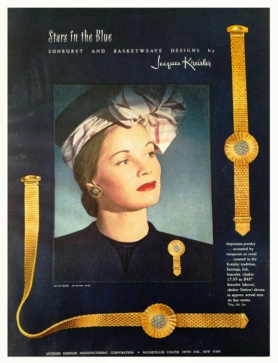 The 1946 ads featuring collection 'Stars in the blue' sunburst and basket weave design