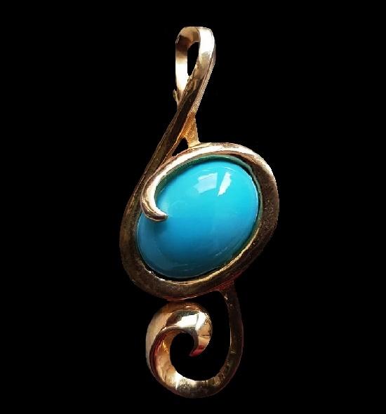 Treble clef brooch pin. 1990s
