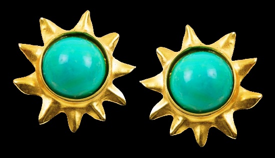 Turquoise Cabochon gold tone sun earrings