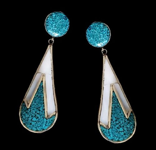 Turquoise Mother of Pearl silver tone dangle earrings