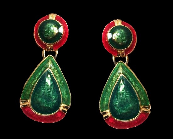 Vintage 90's Red Green Enamel Drop Pierced Earrings