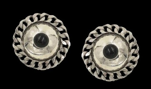Vintage Modernist Runway Earrings. Silver tone metal, faux onyx cabochon. 1970s