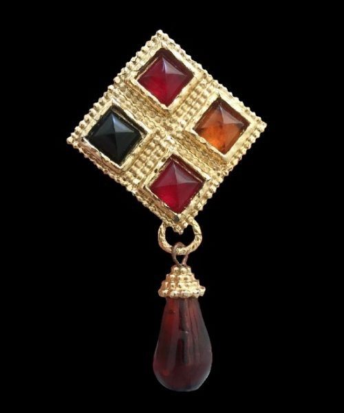Vintage brooch with charm. Gold tone, cabochons, resin. 1980s
