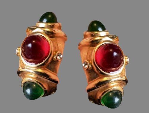 Vintage earrings. Bijouterie alloy, gilding, acrylic resin, glass rhinestones, swarovski crystals. 1980s