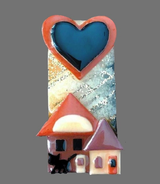 Vintage house pin with a black cat and a heart
