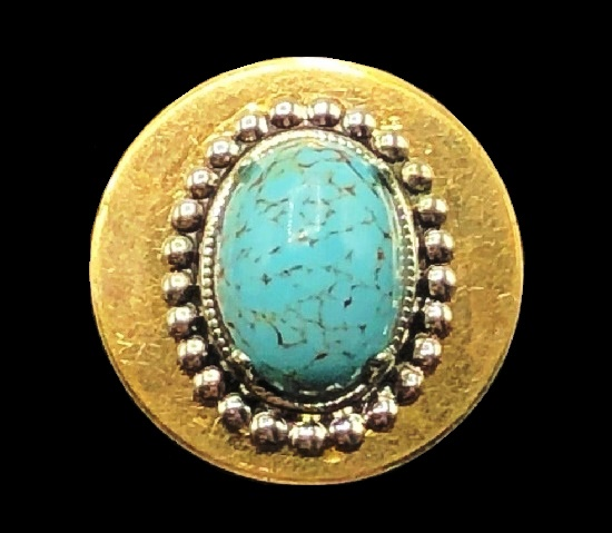 12 K gold filled faux turquoise cabochon oval shaped brooch