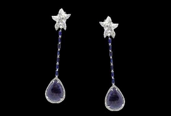 18K Gold, Diamonds, Sapphires, Fashion Earrings