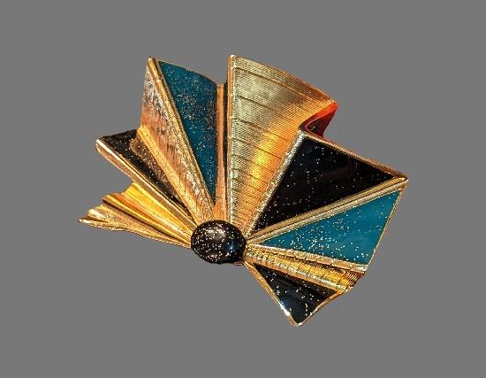1980s Glitter Fan Brooch. Gold plated, enamel, glass cabochon
