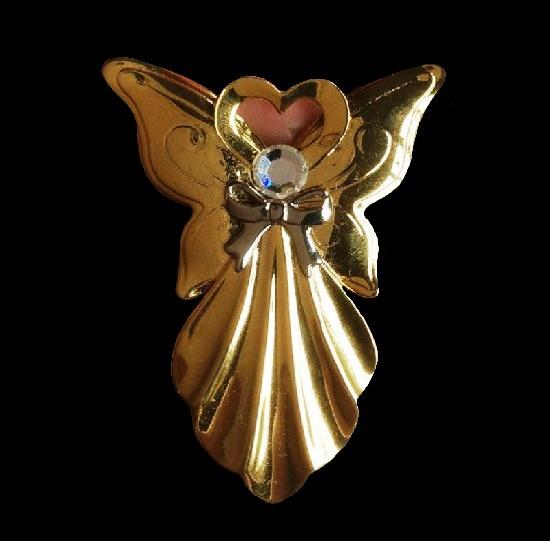 1994 Angel brooch of gold tone, rhinestone. 5.5 cm