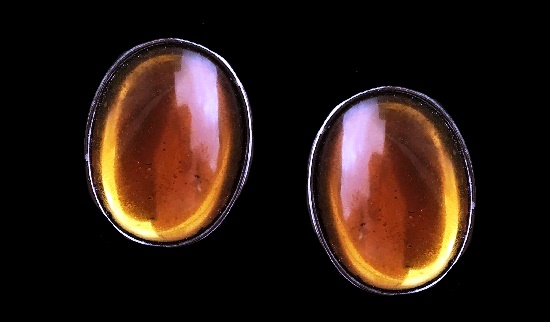 Amber Glass Oval Silver Tone Clip Earrings