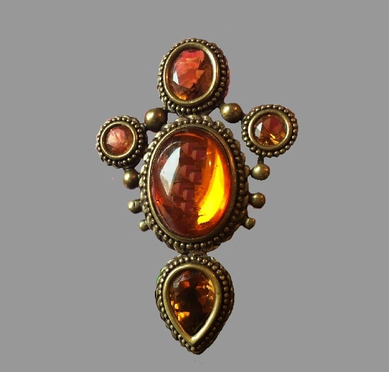 Amber Victorian style brooch. Bronze, natural stones - amber, citrine, topaz. 1980s
