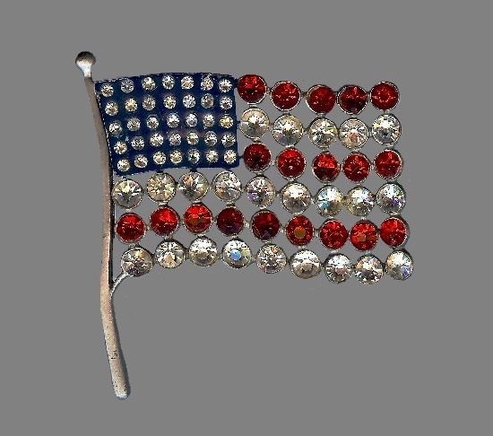 American flag patriotic pin brooch. Sterling silver, enamel, blue, red and clear rhinestones