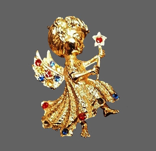 Angel fairy brooch. Gold tone, rhinestones