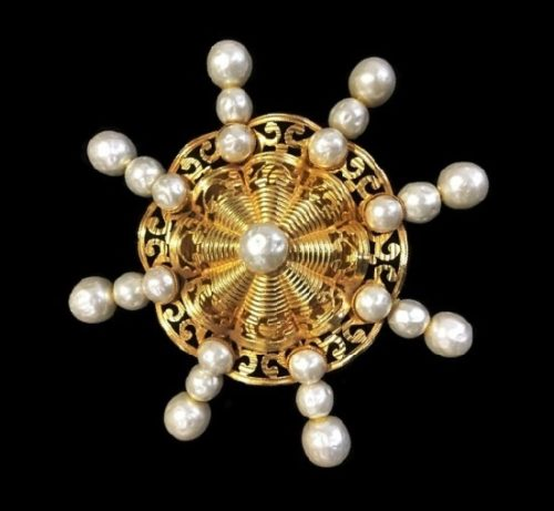 Antique gold faux pearls brooch